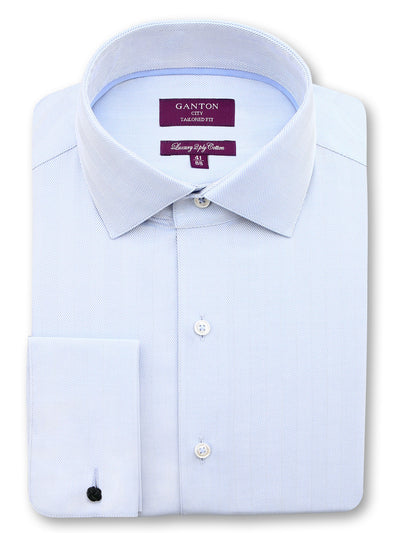 Light Blue Textured Tailored Fit Oliver Luxury 2 Ply Cotton Shirt