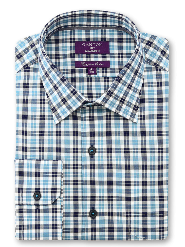 Teal Navy White Check Tailored Fit Rich Egyptian Cotton Shirt
