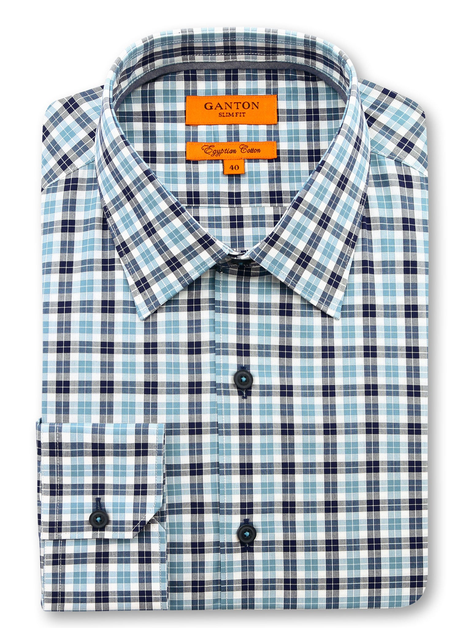 Check Blue Black White Slim Fit Keenan Egyptian Cotton Shirt