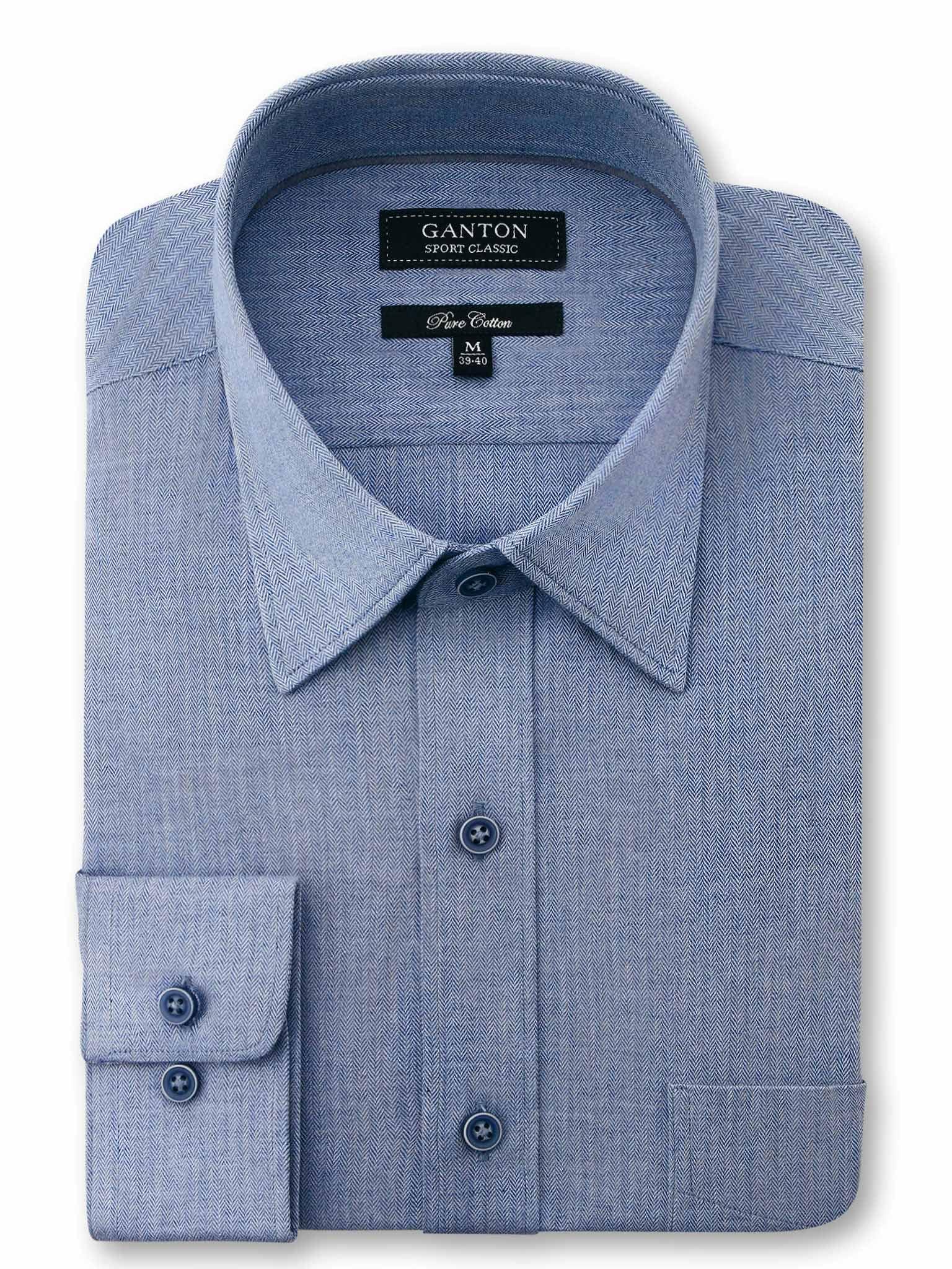 All Navy Plain Herringbone Classic Fit Bradford Cotton Shirt