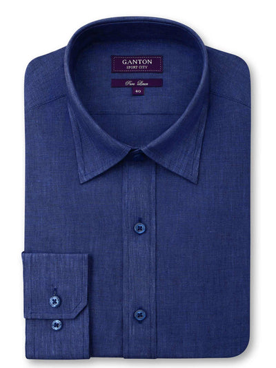 Navy Plain Tailored Fit Bradshaw Pure Linen Shirt