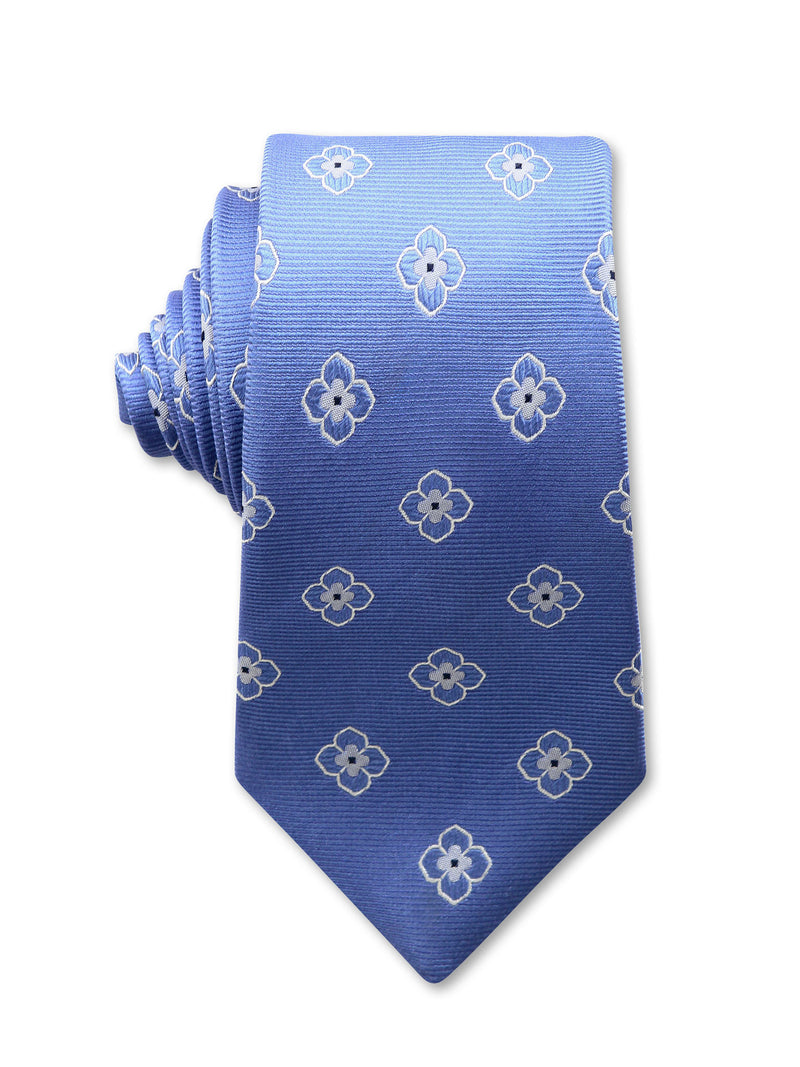 Blue Floral Print 7cm Albert Luxury Silk Tie Made in Australia