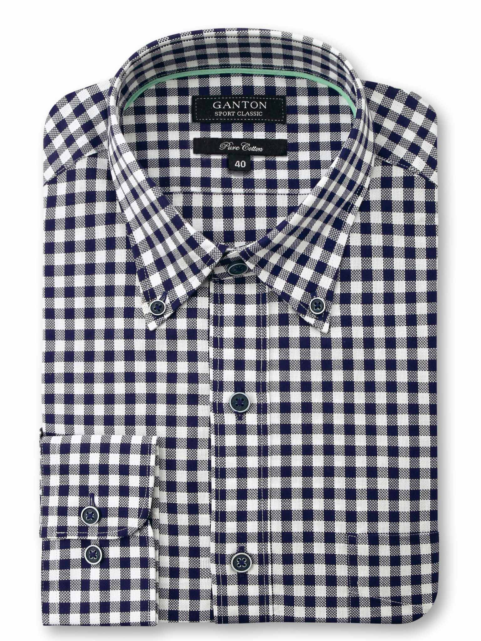 Navy White Check Classic Fit Garson Pure Cotton Shirt