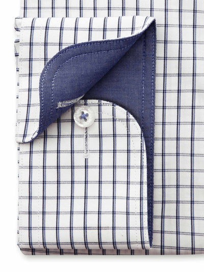 Navy White Check Tailored Fit Tobias Wash Wear Swiss Cotton Shirt