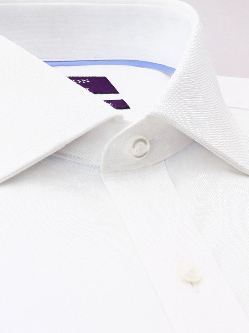 White Textured Tailored Fit Olly Luxury 2 Ply Cotton Shirt