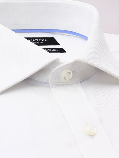 White Textured Classic Fit Jim Luxury 2 Ply Cotton Shirt