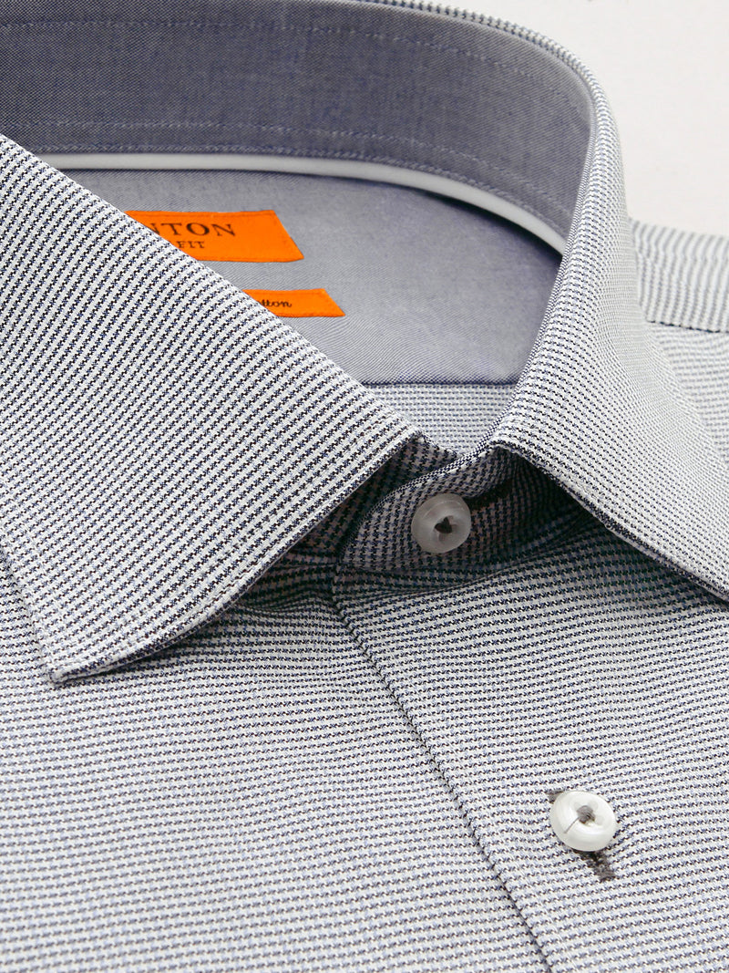 Full Grey Textured Slim Fit Brady Luxury 2 Ply Cotton Shirt