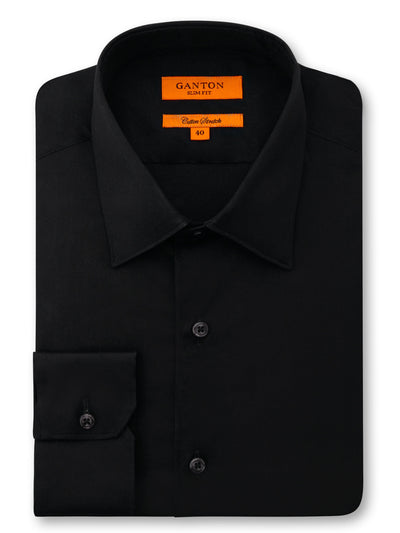 Black Plain Slim Fit Danny Cotton Stretch Business Shirt