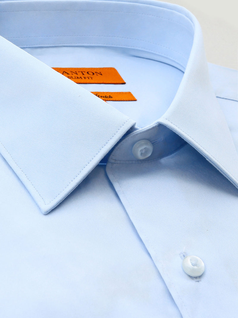 Mid Blue Plain Slim Fit Danny Cotton Stretch Business Shirt