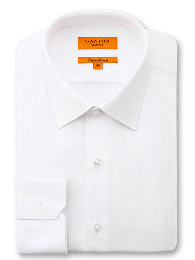 White plain slim fit Danny cotton stretch business shirt