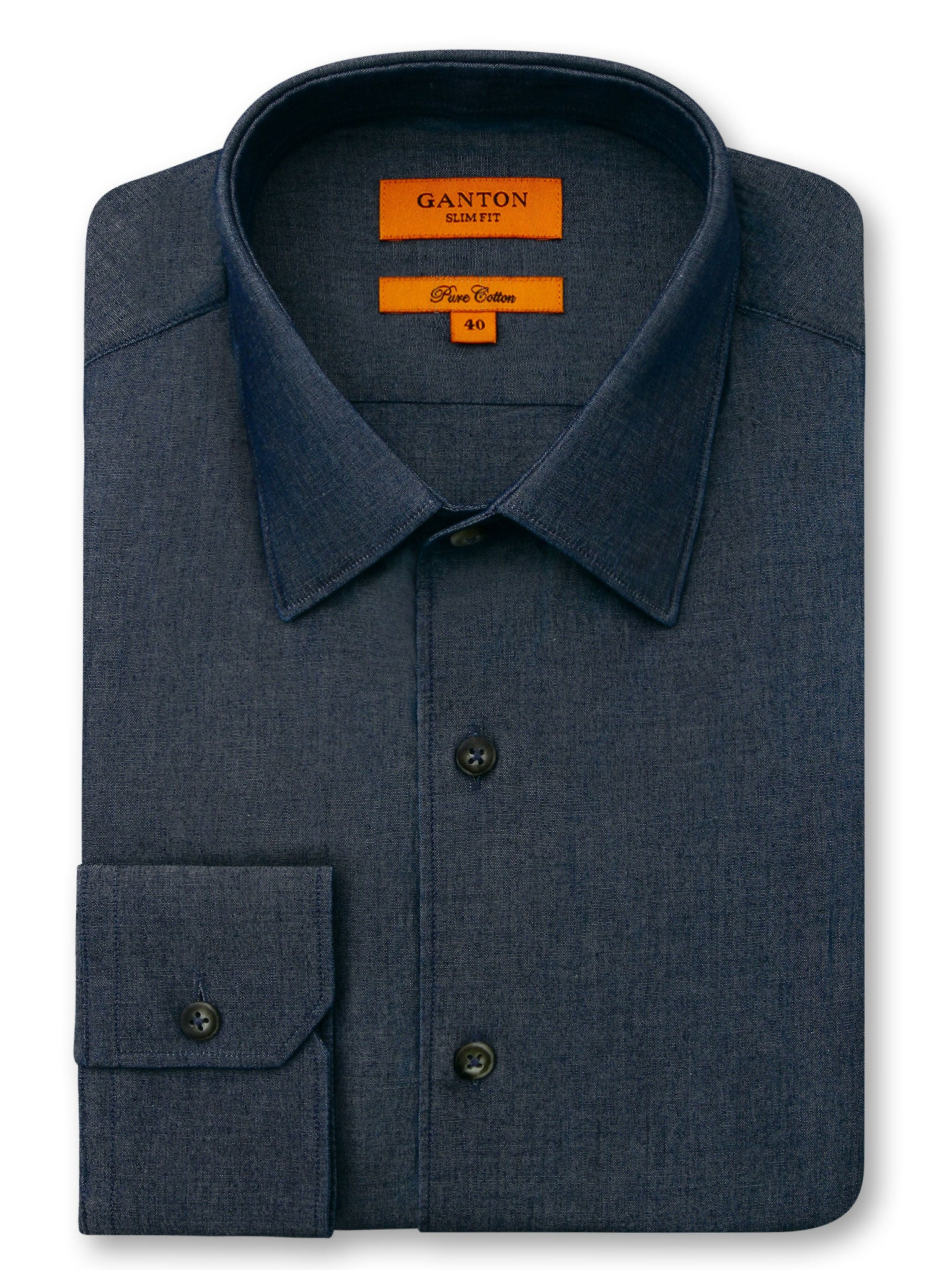 Navy Plain Denim Slim Fit Cohen Pure Cotton Shirt