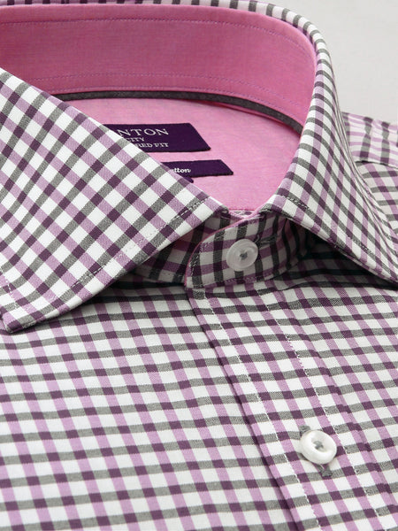 Pink White Check Tailored Fit Conrad Pure Cotton  Shirt