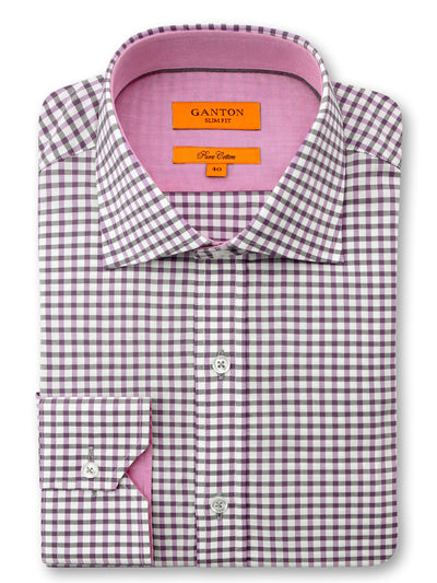 Pink White Check Slim Fit Cole Pure Cotton Shirt