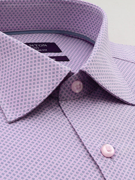 Pink Print Tailored Fit Corey Pure Cotton Shirt