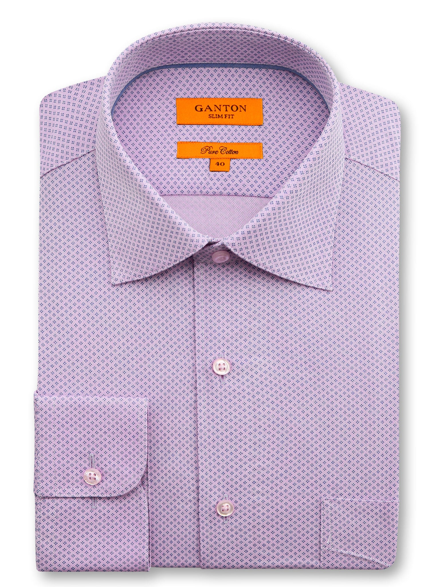 Pink purple navy print slim fit Curtis cotton shirt