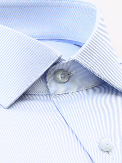 Light Blue Textured Tailored Fit Dale Luxury 2 Ply Cotton Shirt