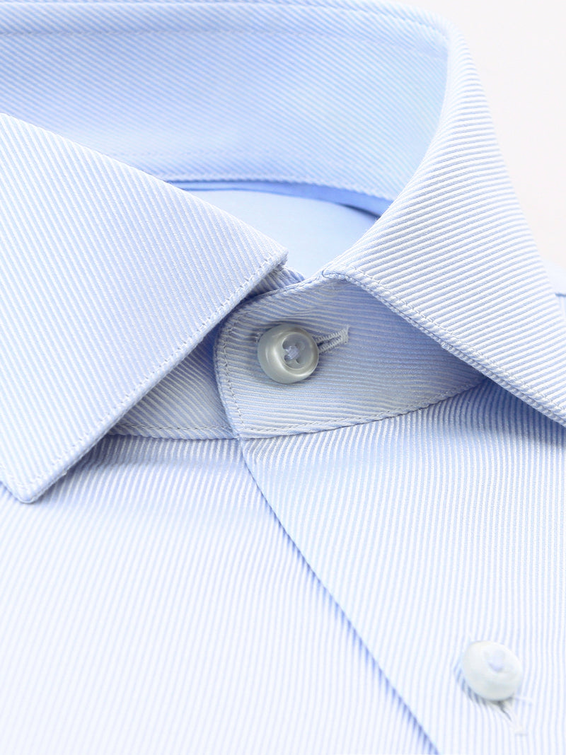 All Light Blue Textured Tailored Fit Dale Luxury 2 Ply Cotton Shirt