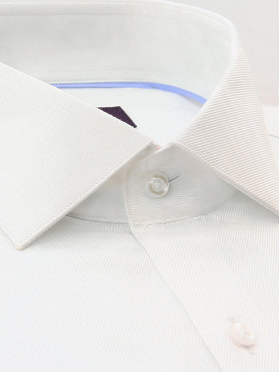 White Textured Tailored Fit Dale Luxury 2 Ply Cotton Shirt