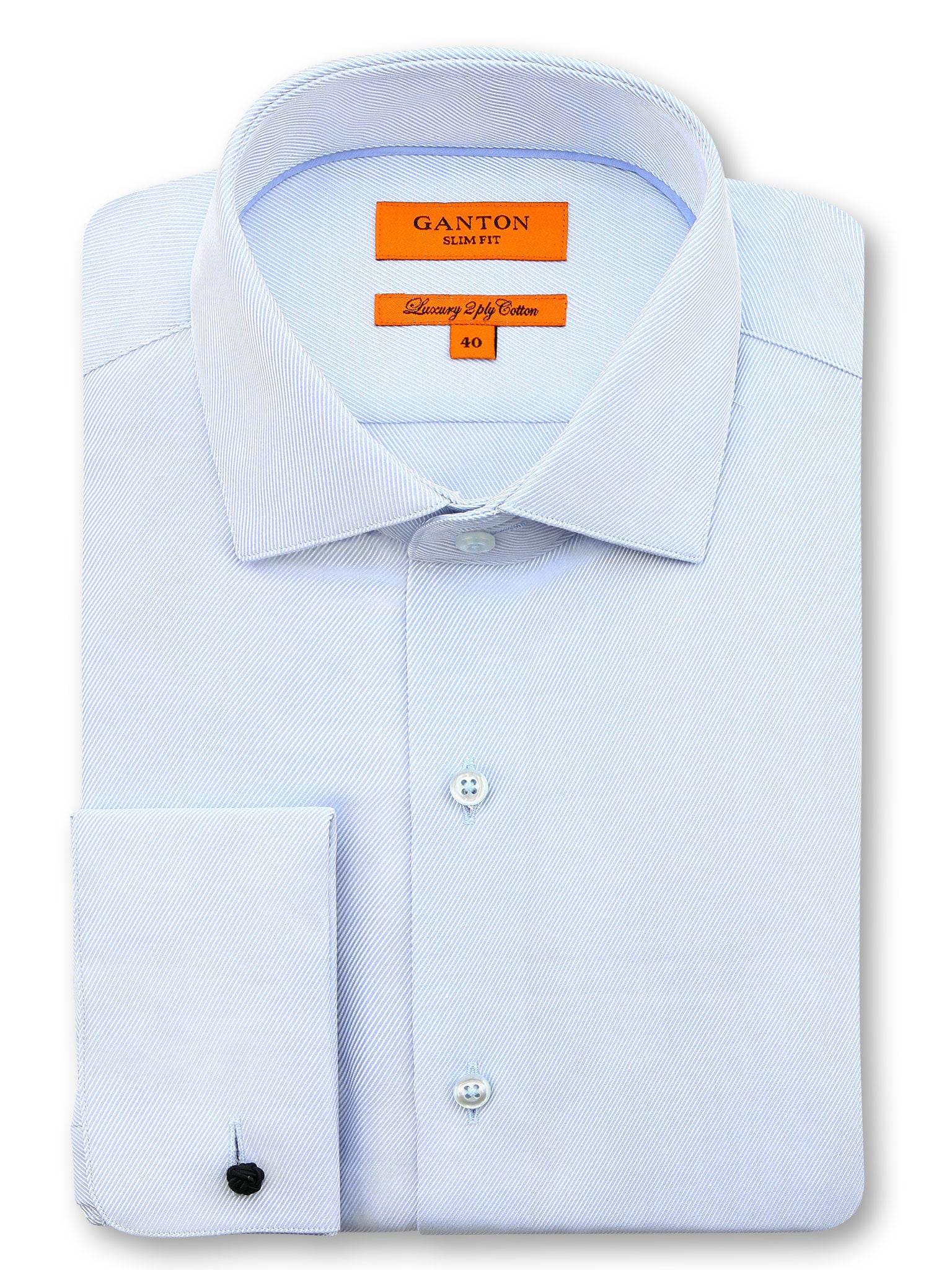 All Light Blue Textured Slim Fit Darren Luxury 2 Ply Cotton Shirt