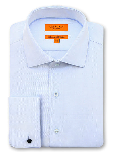 Light Blue Textured Slim Fit Darren Luxury 2 Ply Cotton Shirt
