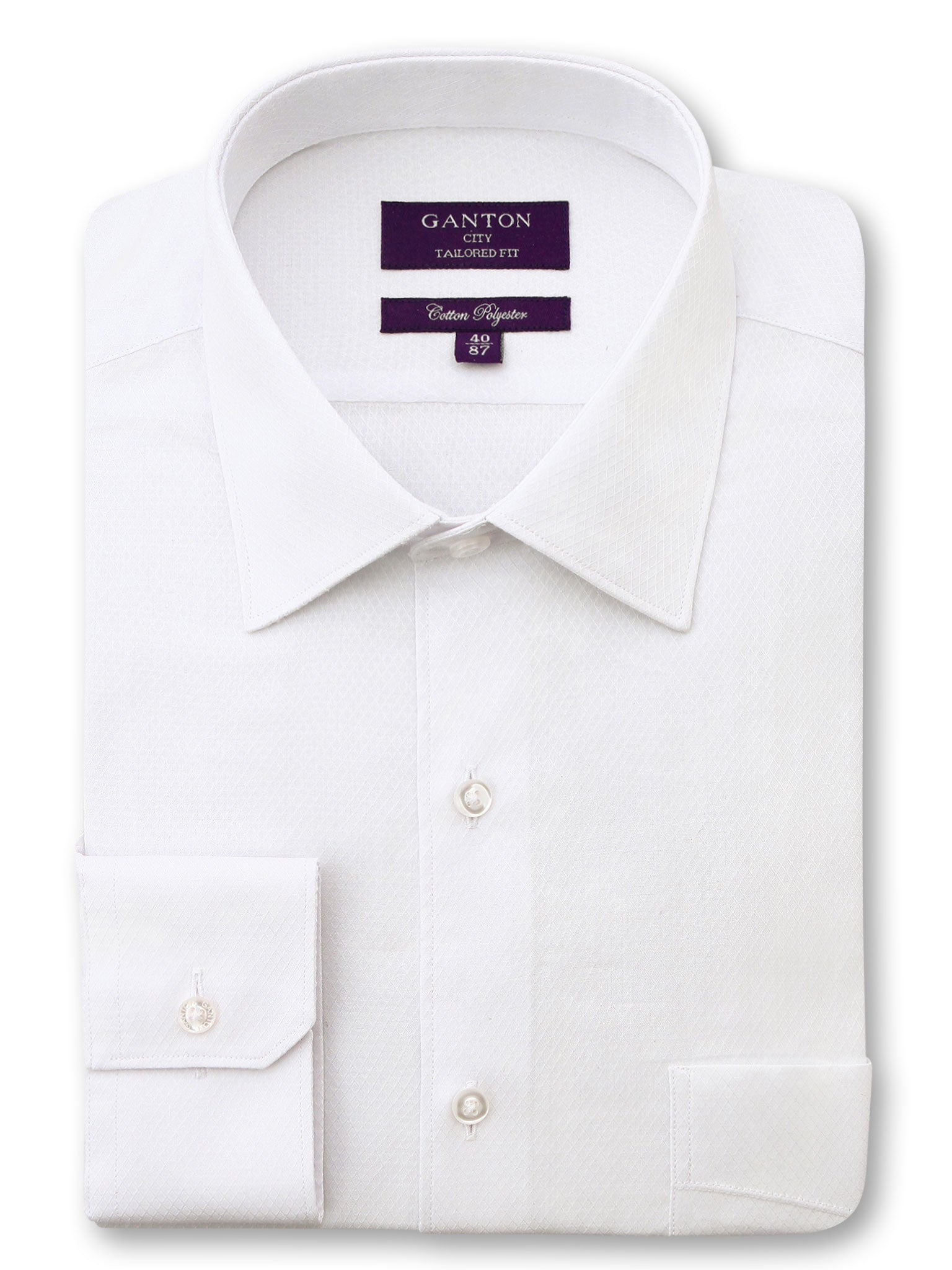 White Textured Tailored Fit Davis Cotton Polyester Shirt