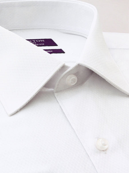 All White Textured Tailored Fit Davis Cotton Polyester Shirt
