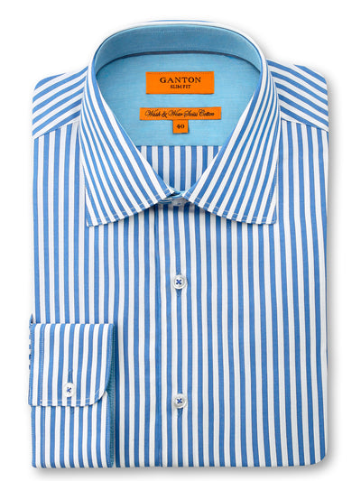 Mid Blue White Stripe Slim Fit Dexter Wash Wear Swiss Cotton Shirt
