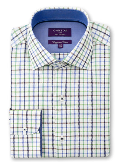Green White Blue Check Tailored Fit Diego Egyptian Cotton Shirt