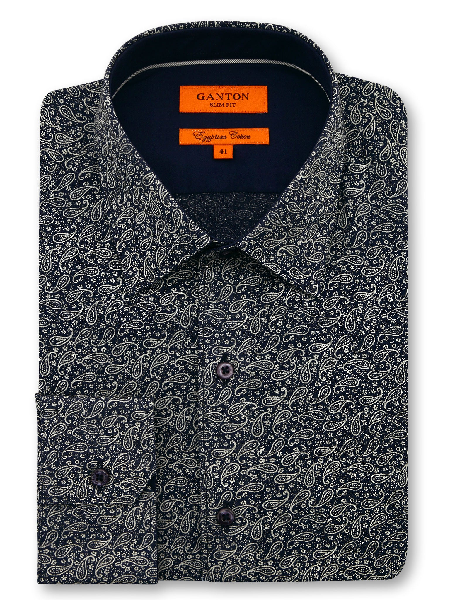 Paisley Black Print Slim Fit Dirk Egyptian Cotton Shirt