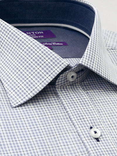 White Grey Check Tailored Fit Dudley Easy Iron Swiss Cotton Shirt