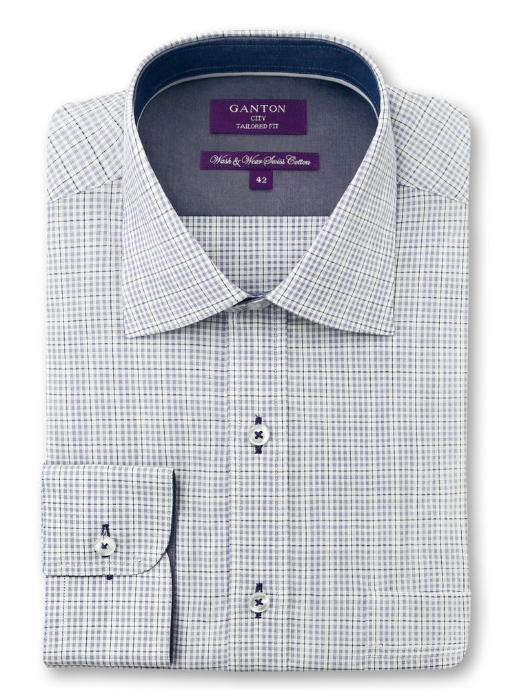 White Navy Check Tailored Fit Dudley Easy Iron Swiss Cotton Shirt