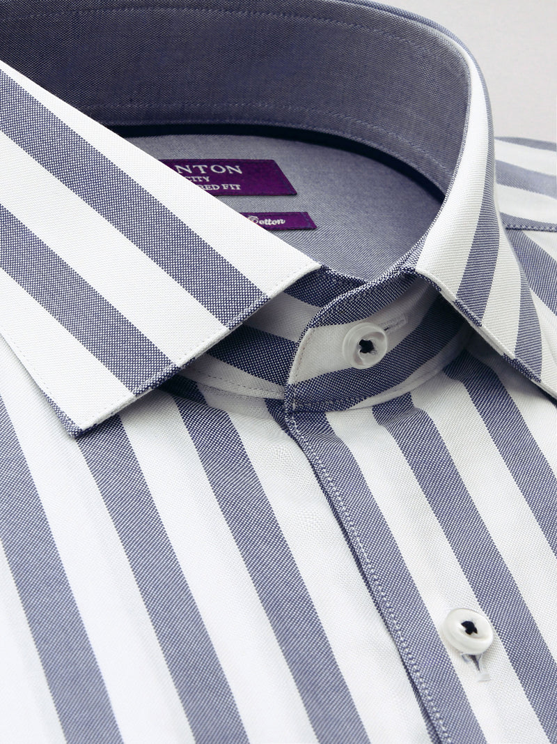 Grey White Stripe Tailored Fit Elmer Luxury 2 Ply Cotton Shirt