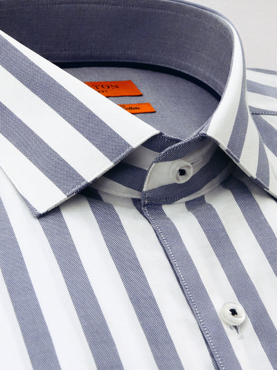 Grey White Stripe Slim Fit Finn Luxury 2 Ply Cotton Shirt