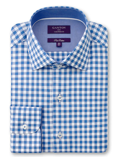 Mid Blue White Check Tailored Fit Forrest Pure Cotton Shirt