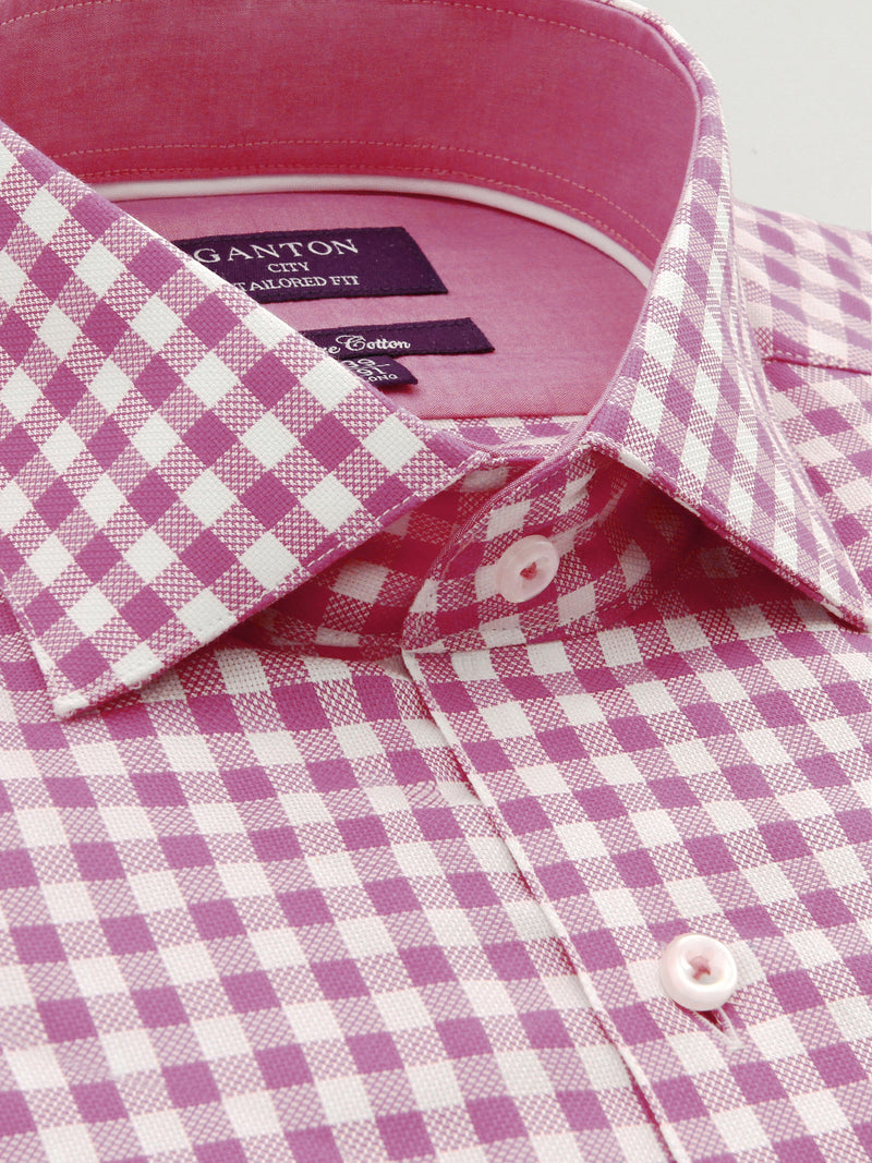 Pink White Tailored Fit Forrest Pure Cotton Shirt