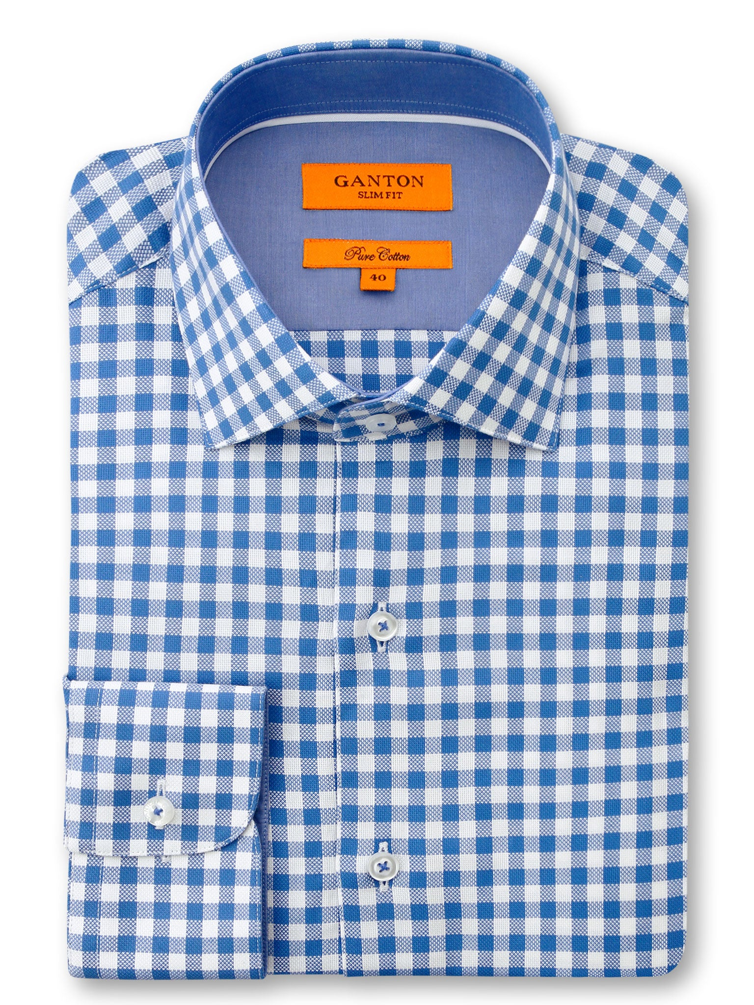 Mid Blue White Check Slim Fit Fraser Pure Cotton Shirt