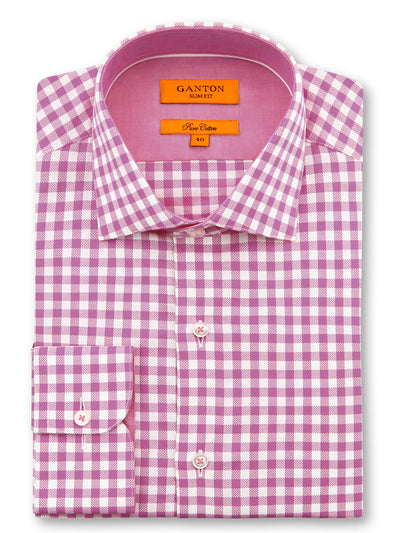 Pink White Check Slim Fit Fraser Pure Cotton Shirt