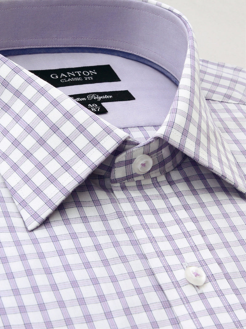 Purple White Check Classic Fit Gareth Cotton Polyester Shirt