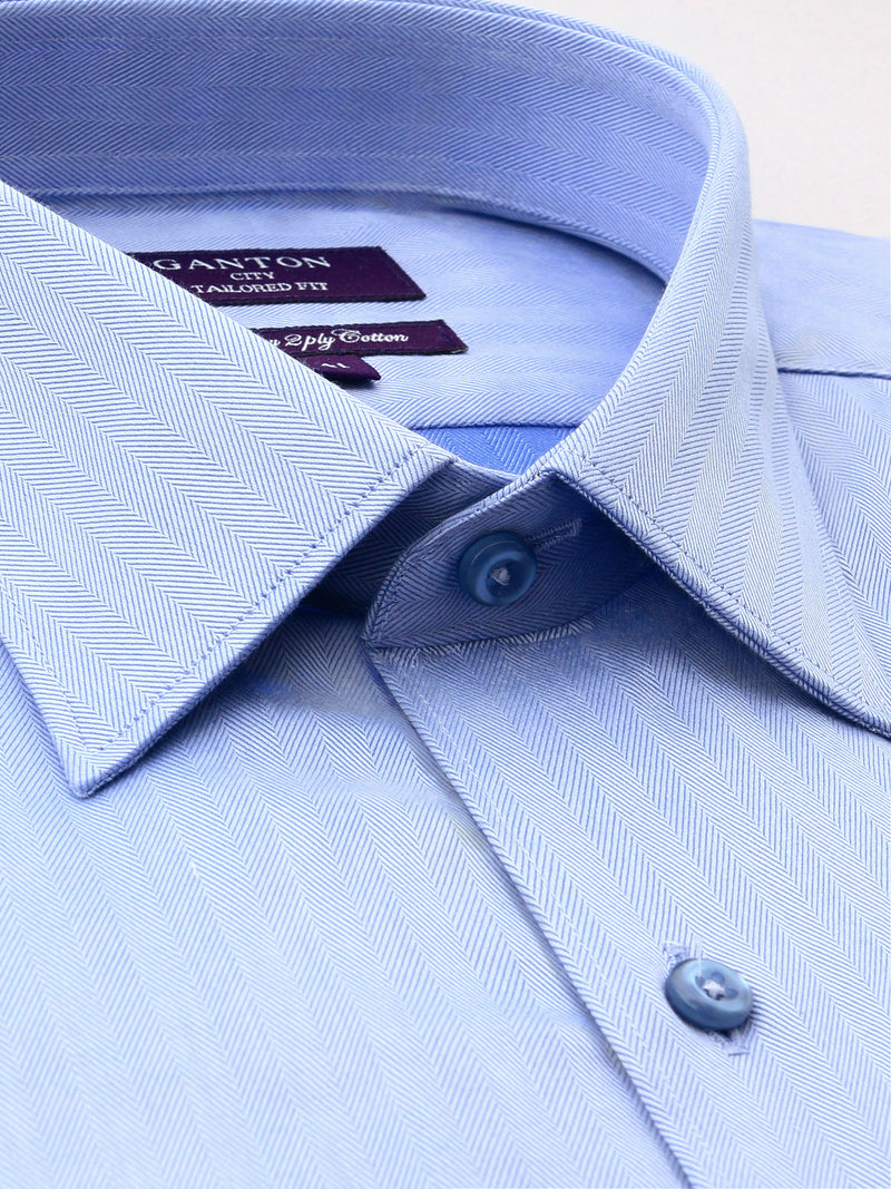 Mid Blue Textured Tailored Fit Gary Luxury 2 Ply Cotton Shirt