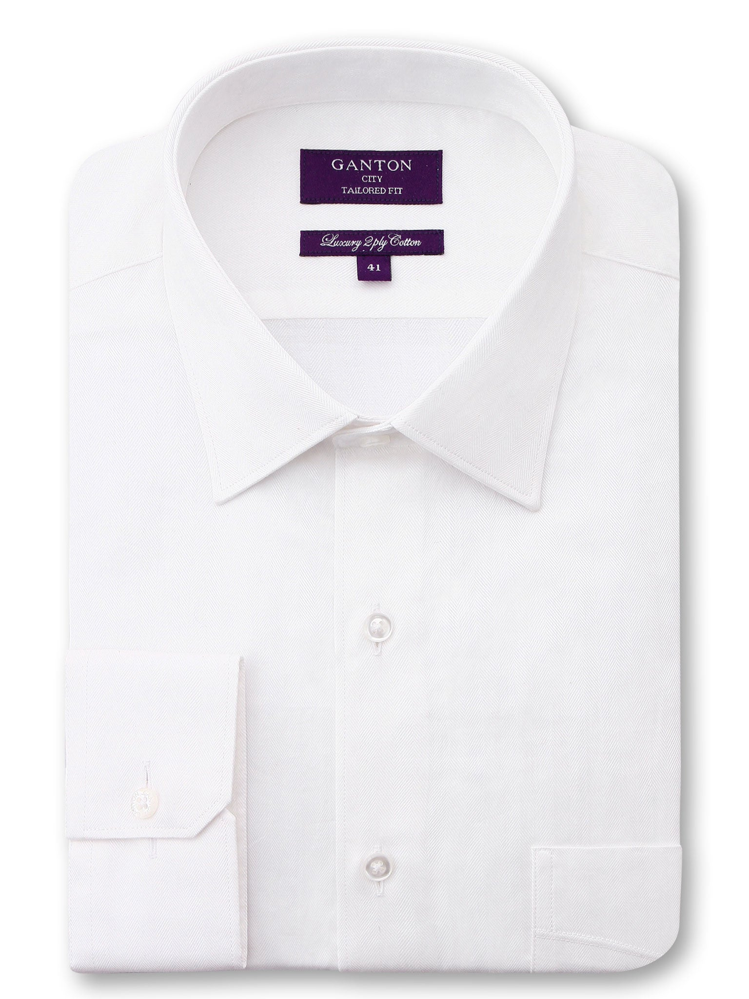 White Textured Tailored Fit Gary Luxury 2 Ply Cotton Shirt