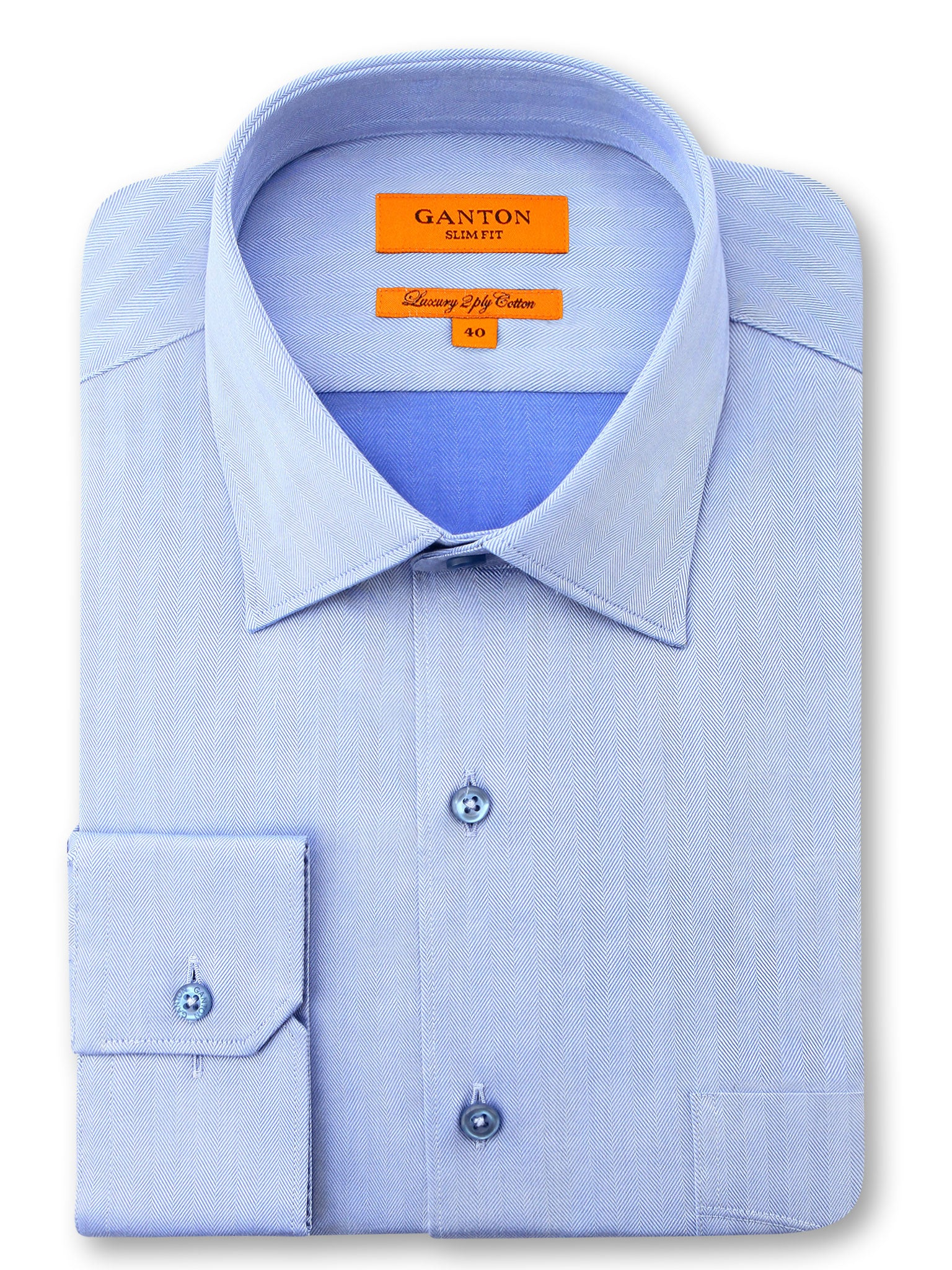 Mid Blue Textured Slim Fit Gibson Luxury 2 Ply Cotton Shirt