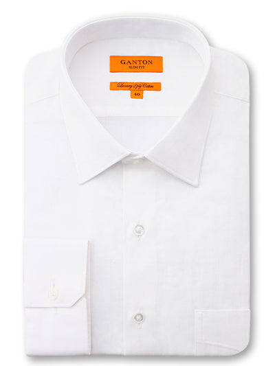 White Textured Slim Fit Gibson Luxury 2 Ply Cotton  Shirt