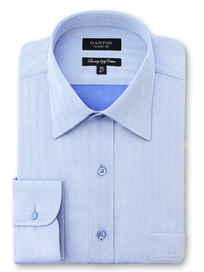 Blue Textured Classic Fit Jeff Luxury 2 Ply Cotton Shirt