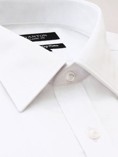 White Textured Classic Fit Jeff Luxury 2 Ply Cotton Shirt