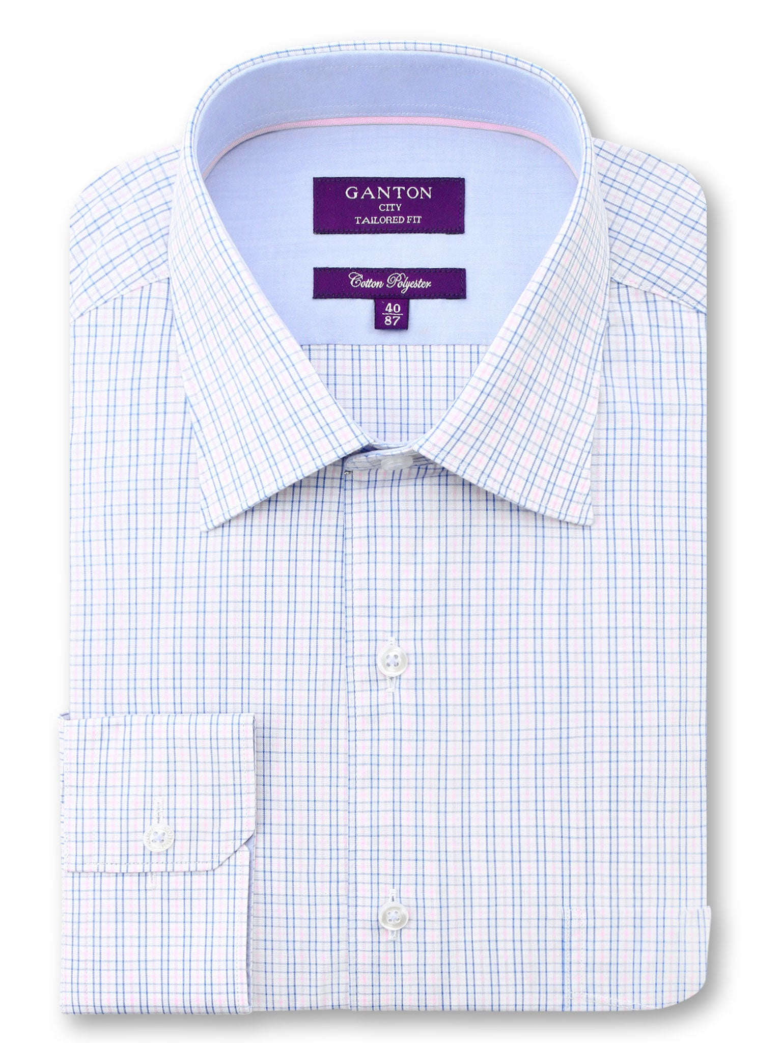 Light Blue Check Tailored Fit Greg Cotton Polyester Shirt