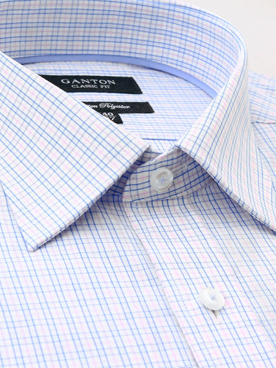 Pink blue white check classic fit Hayes cotton polyester Shirt