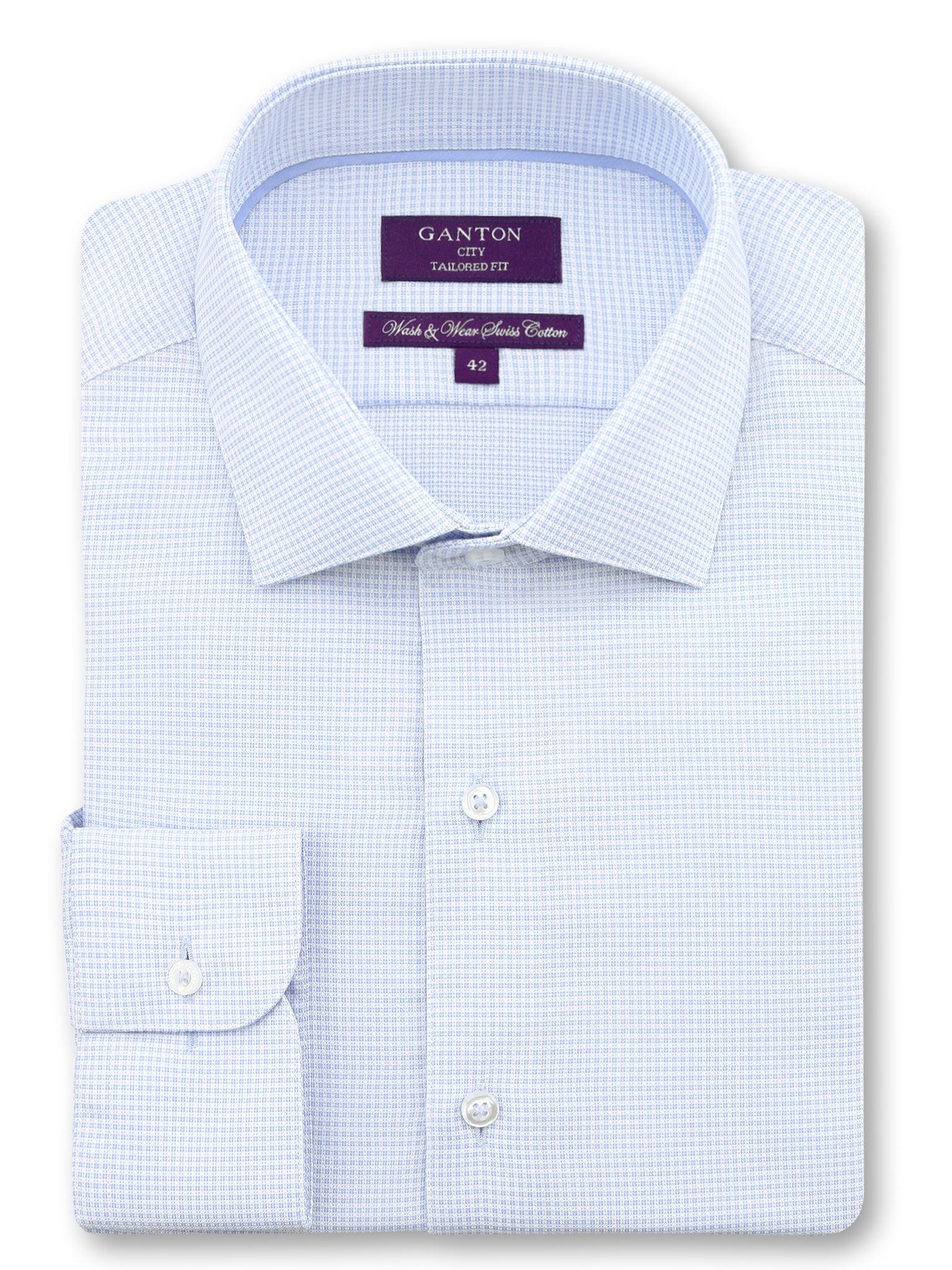 Blue White Check Tailored Fit Hurley Wash Wear Swiss Cotton Shirt