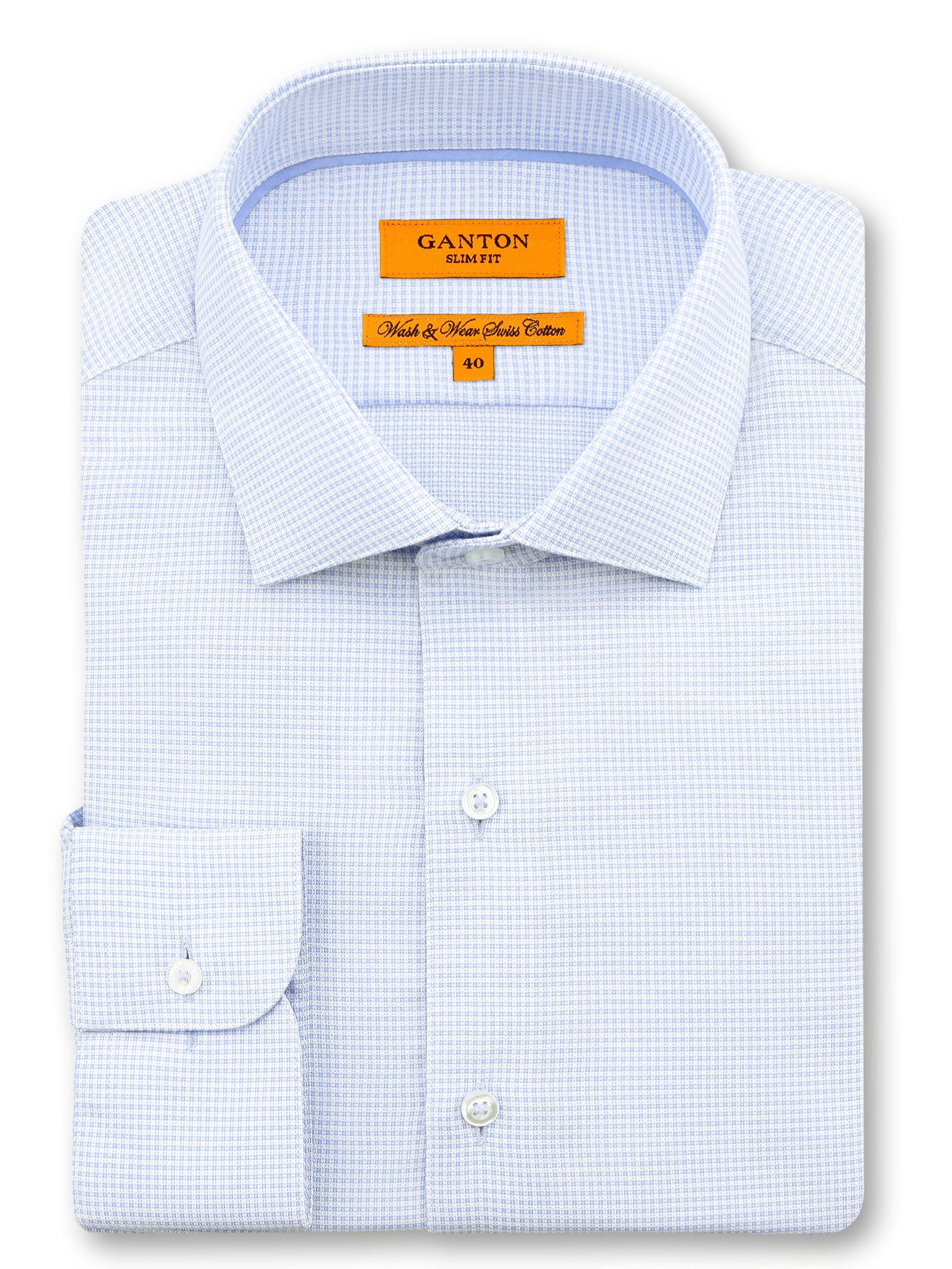 Blue White Check Slim Fit Ian Wash Wear Swiss Cotton Shirt