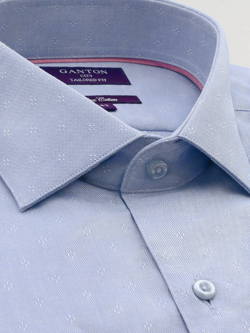 All Mid Blue Textured Tailored Fit Trevor Pure Cotton Shirt