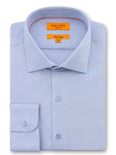 Mid Blue Textured Slim Fit Josh Pure Cotton Shirt